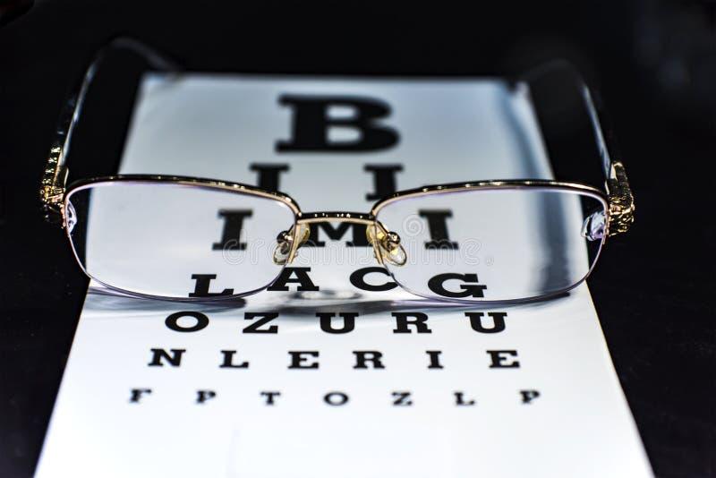 Observe los vidrios en una carta de prueba de la vista, cierre para arriba fotos de archivo