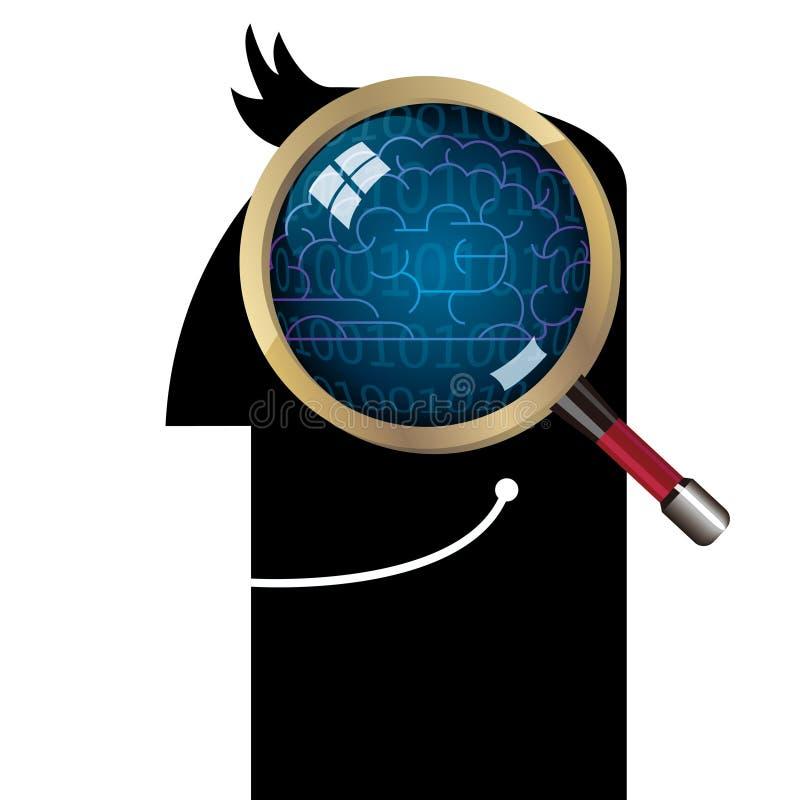 Observe o cérebro com uma lupa ilustração stock