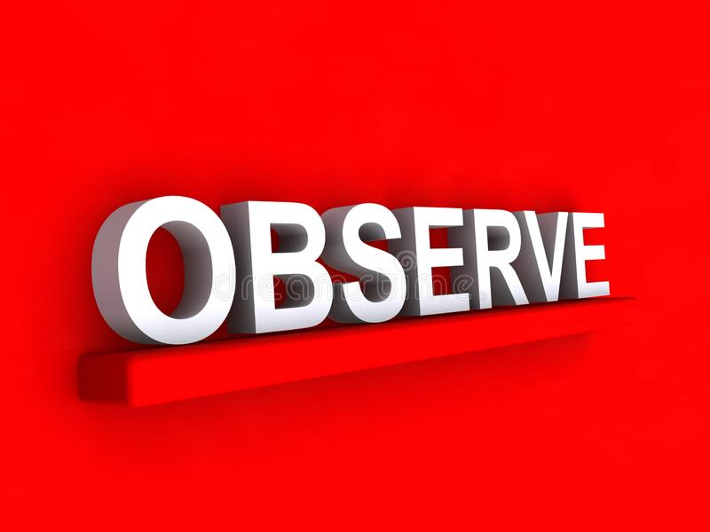 Observe. Command on red background royalty free illustration