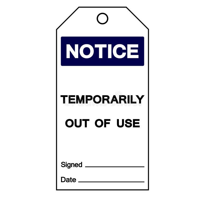 Observe temporariamente fora do sinal do símbolo da etiqueta do uso, ilustração do vetor, isolado na etiqueta branca do fundo EPS ilustração stock