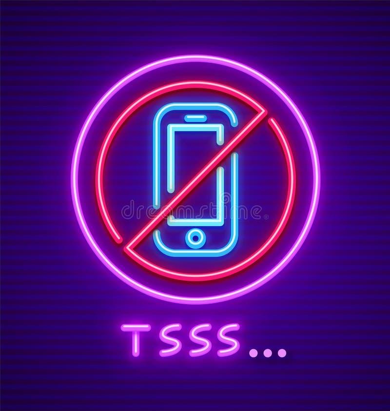 Observe a utilização de proibição do telefone celular do sinal do silêncio ilustração stock