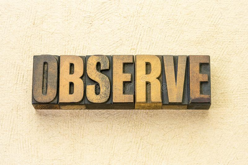 Observe word abstract in wood type. Observe word abstract in vintage letterpress wood type against textured handmade paper stock image