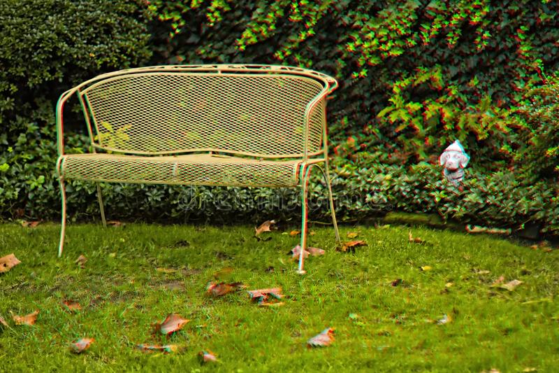 The Observer - 3D Anaglyph. A scene from green yard with a bench and a dog statue made into a 3D Anaglyph for entertainment viewing - can be printed as well as a vector illustration