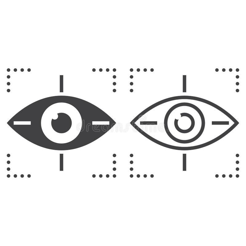 Observez en dépistant le signe de vecteur de ligne icône, d'ensemble et de solide, linéaire illustration libre de droits