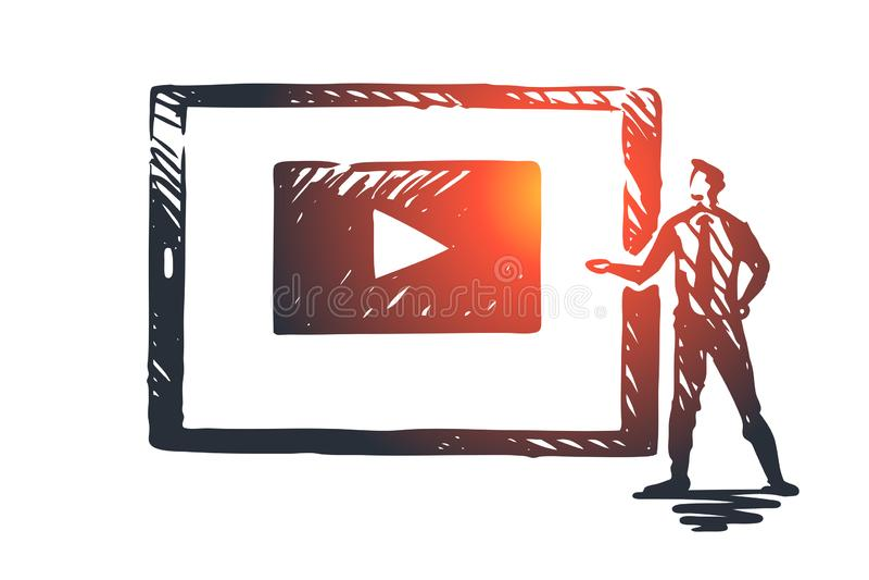 Observez notre vidéo, Internet, jeu, media, concept de Web Vecteur d'isolement tiré par la main illustration stock