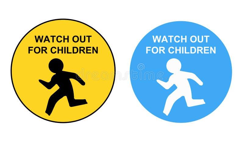 Observez pour le panneau routier d'enfants Veuillez conduire lent illustration libre de droits