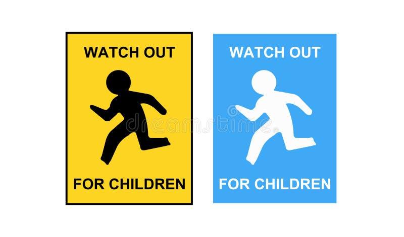 Observez pour le panneau routier d'enfants Veuillez conduire lent illustration stock