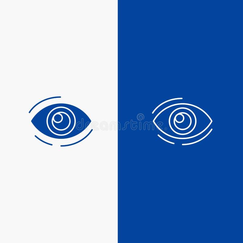 Observez, trouvez, regardez, en regardant, recherche, bannière bleue de bannière voyez, regarder de ligne et de Glyph icône solid illustration libre de droits