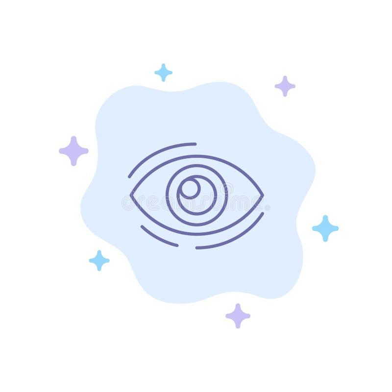 Observez, trouvez, regardez, en regardant, recherche, voyez, regarder l'icône bleue sur le fond abstrait de nuage illustration de vecteur