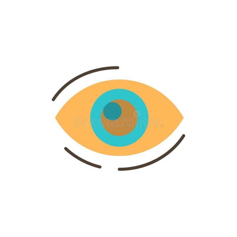 Observez, trouvez, regardez, en regardant, recherche, voyez, regarder l'icône plate de couleur Calibre de bannière d'icône de vec illustration stock