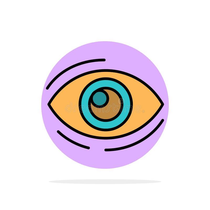Observez, trouvez, regardez, en regardant, recherche, voyez, regarder l'icône plate de couleur de fond abstrait de cercle illustration stock