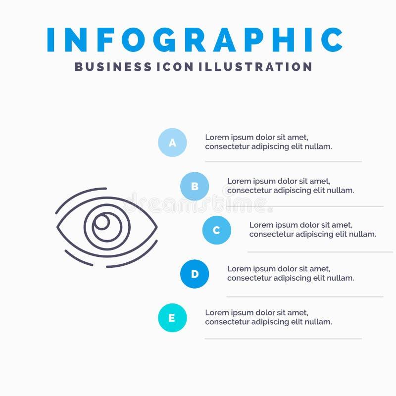 Observez, trouvez, regardez, en regardant, recherche, voyez, regarder la ligne icône avec le fond d'infographics de présentation  illustration stock