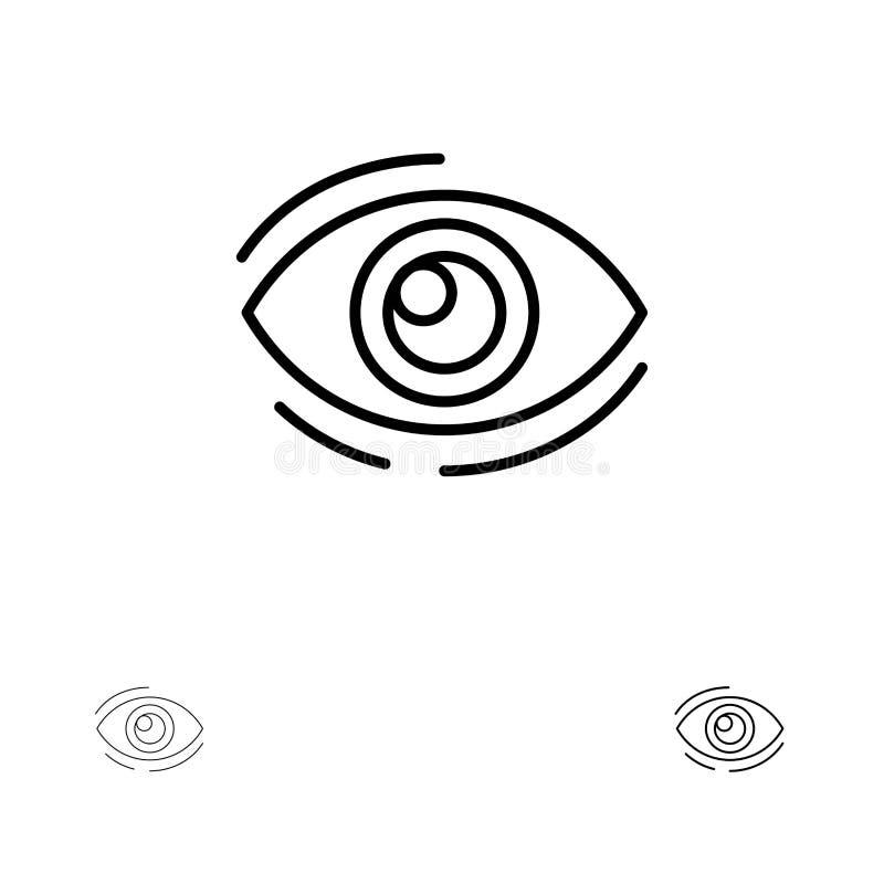 Observez, trouvez, regardez, en regardant, recherche, voyez, regarder la ligne noire audacieuse et mince ensemble d'icône illustration de vecteur