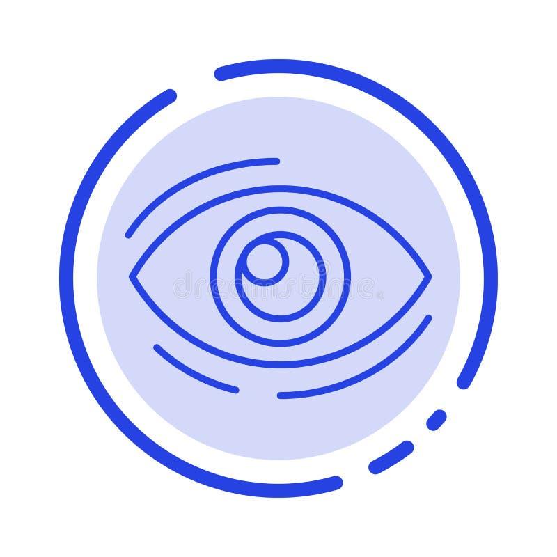 Observez, trouvez, regardez, en regardant, recherche, voyez, regarder la ligne pointillée bleue ligne icône illustration de vecteur