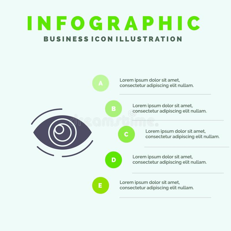 Observez, trouvez, regardez, en regardant, recherche, voyez, regarder le fond solide de présentation d'étapes d'Infographics 5 d' illustration libre de droits