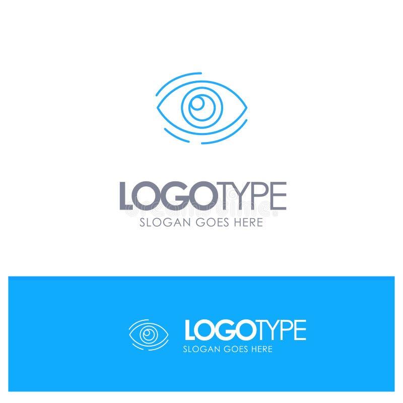 Observez, trouvez, regardez, en regardant, recherche, voyez, regarder le logo bleu d'ensemble avec l'endroit pour le tagline illustration de vecteur