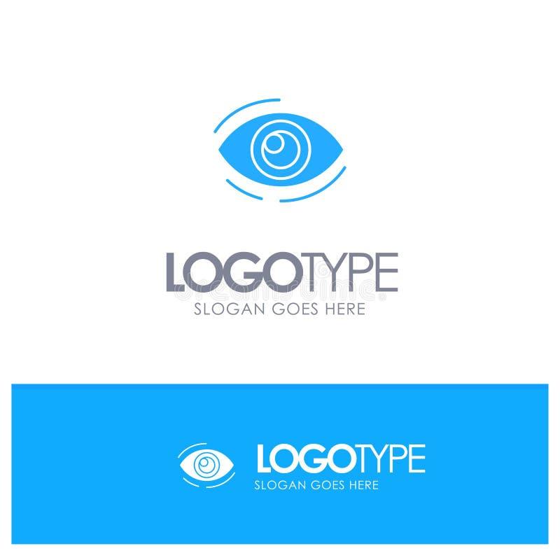Observez, trouvez, regardez, en regardant, recherche, voyez, regarder le logo solide bleu avec l'endroit pour le tagline illustration libre de droits
