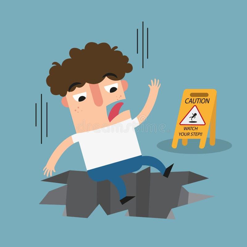 Observez votre signe de précaution d'étape Danger de trou énorme illustration stock