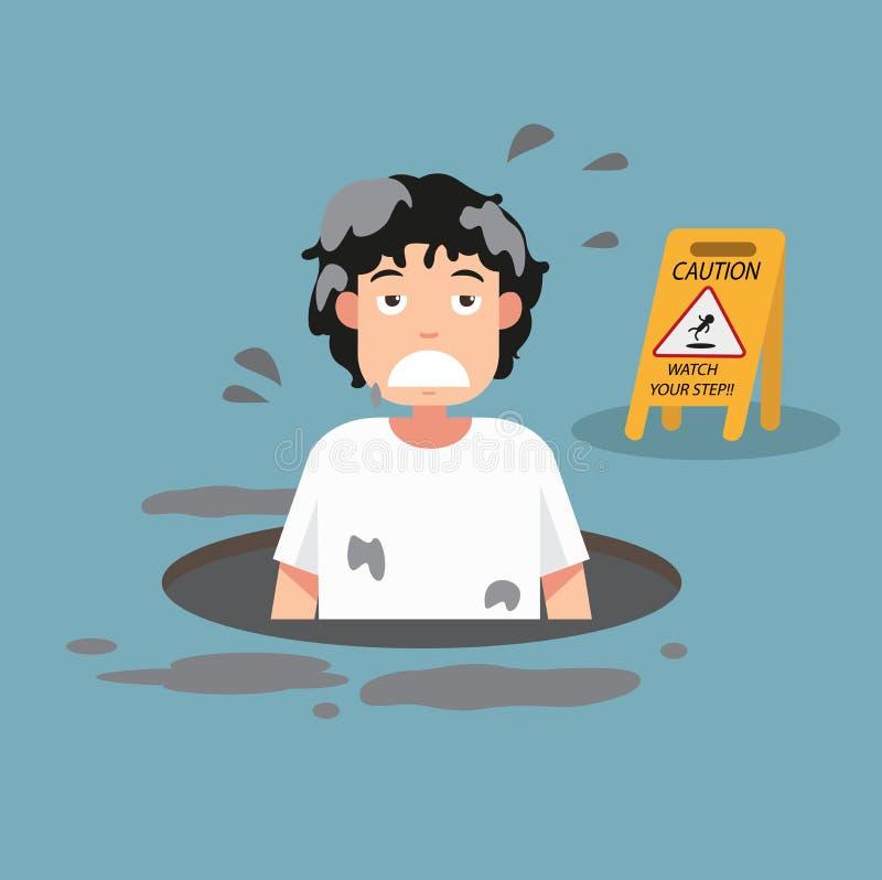 Observez votre signe de précaution d'étape danger de la chute d'isolement illustration de vecteur