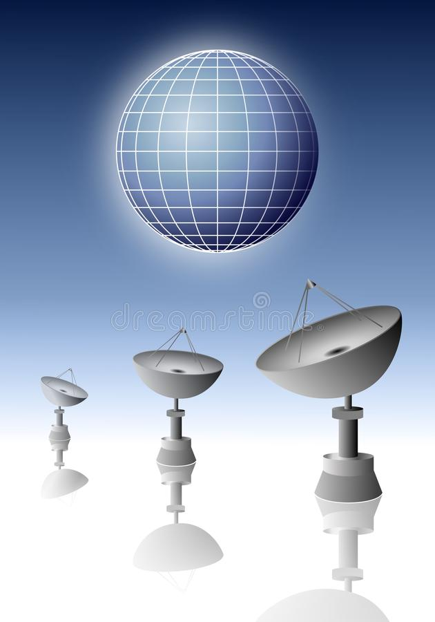Three radars observing planet. A symbolic illustration of three radars who observe the Earth stock image