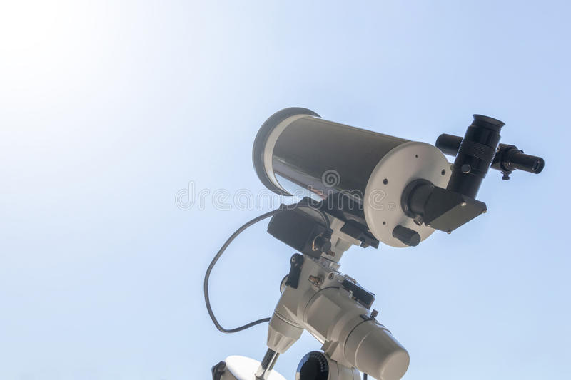 Observing the Sun with telescope. Solar eclipse telescope solar. Filter. Solar eclipse royalty free stock photos