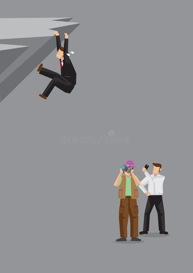 Obserwatorzy Bierze obrazki Przylega na Niebezpiecznej falezie mężczyzna ilustracja wektor