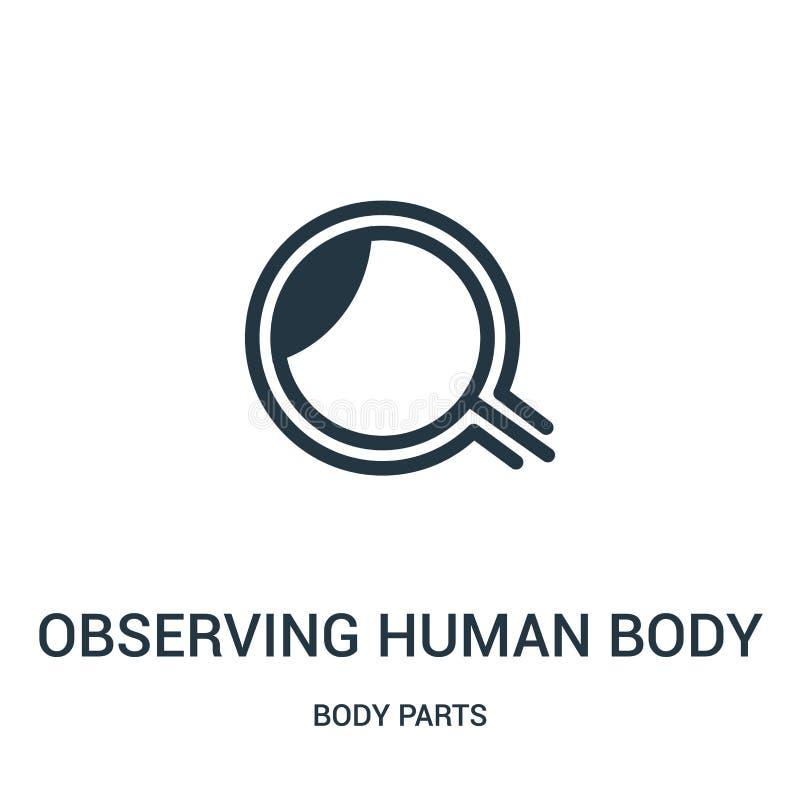 obserwujący ciała ludzkiego szczegóły z magnifier wytłaczają wzory ikona wektor od części ciałych inkasowych Ciency kreskowi obse ilustracja wektor