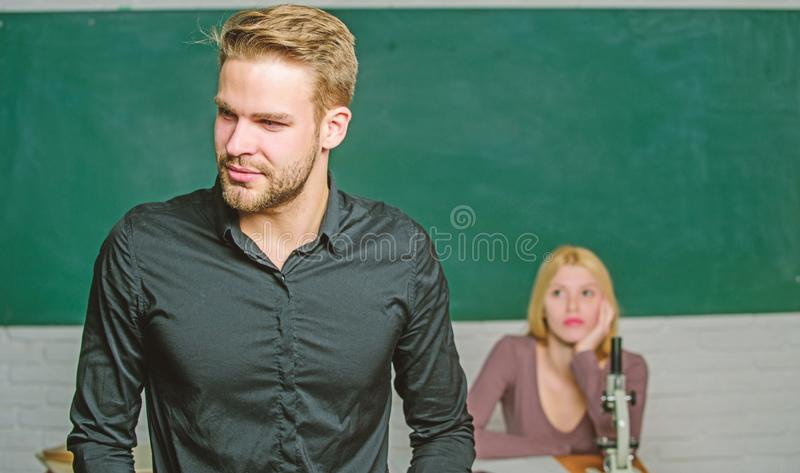 Obsessed with knowledge. Teacher of her dreams. Handsome teacher. School and college education. Successfully graduated. Youth mentoring. Man well groomed royalty free stock image