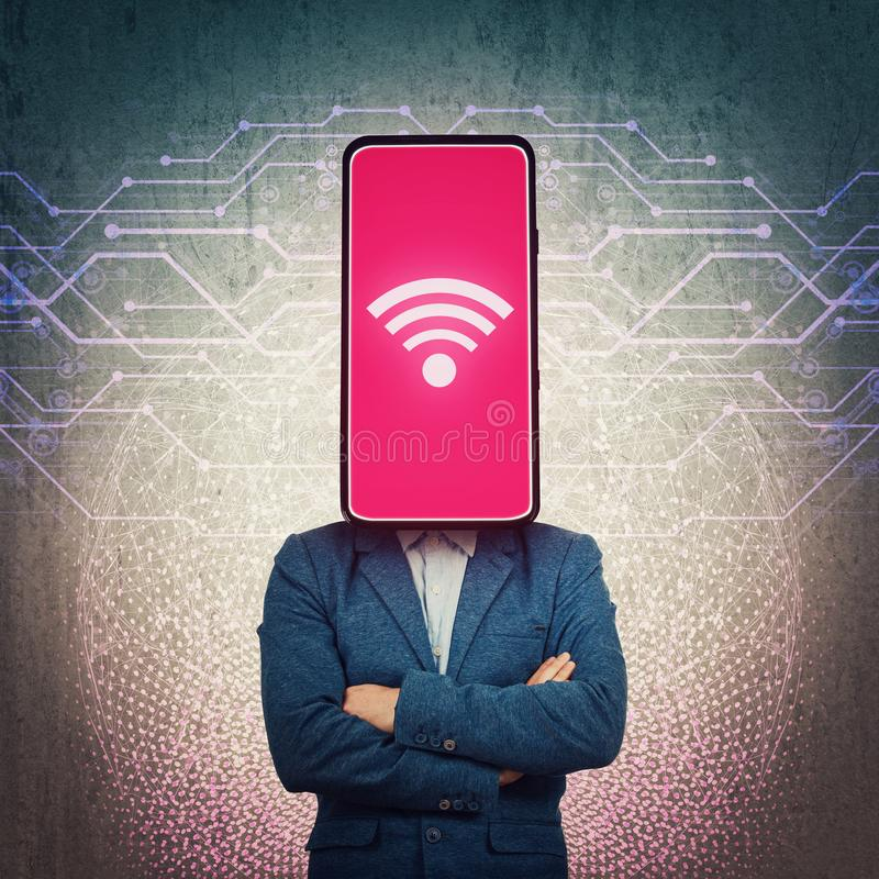 Obsessed phone headed businessman. Wifi addiction, social networks manipulation and brainwashing concept. Internet mass media royalty free stock photos