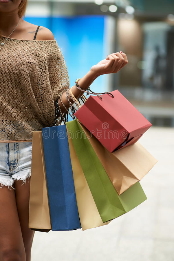 Obsessed with shopping stock photo