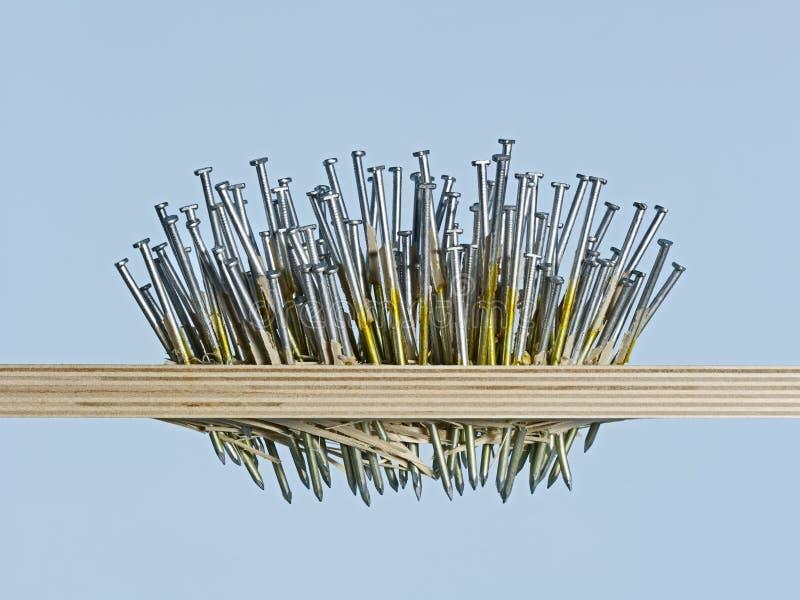 Obsessie, dwang en macht Vele die spijkers door houten raad worden gedreven stock afbeelding