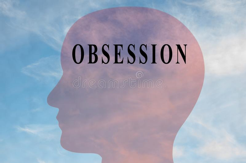 OBSESSION - mental concept. Render illustration of OBSESSION title on head silhouette, with cloudy sky as a background vector illustration