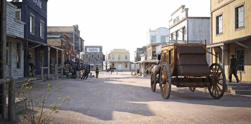 Obsiadły zachodni miasteczko z różnorodnymi biznesami ilustracji