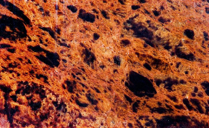 Obsidian mineral stone texture pattern macro view. Beautiful volcanic glass dark-red brown with black spots background stock photo