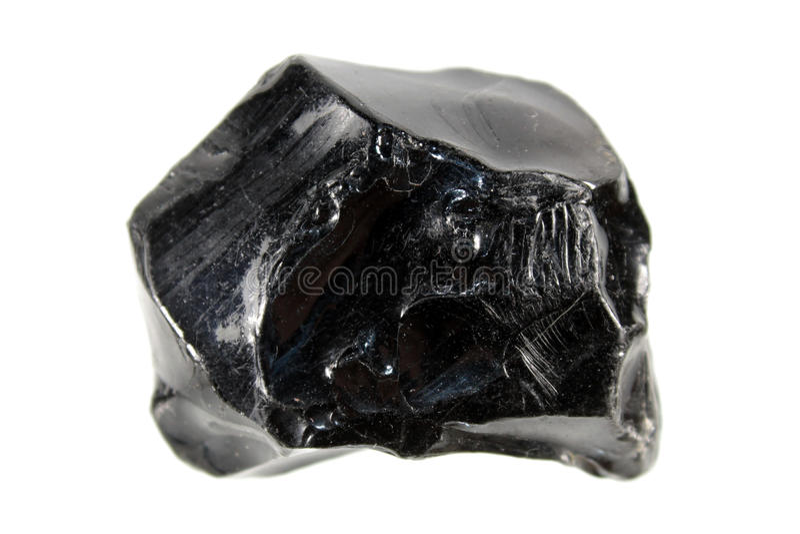 Obsidiana ou vidro vulcânico isolada no fundo branco fotos de stock royalty free