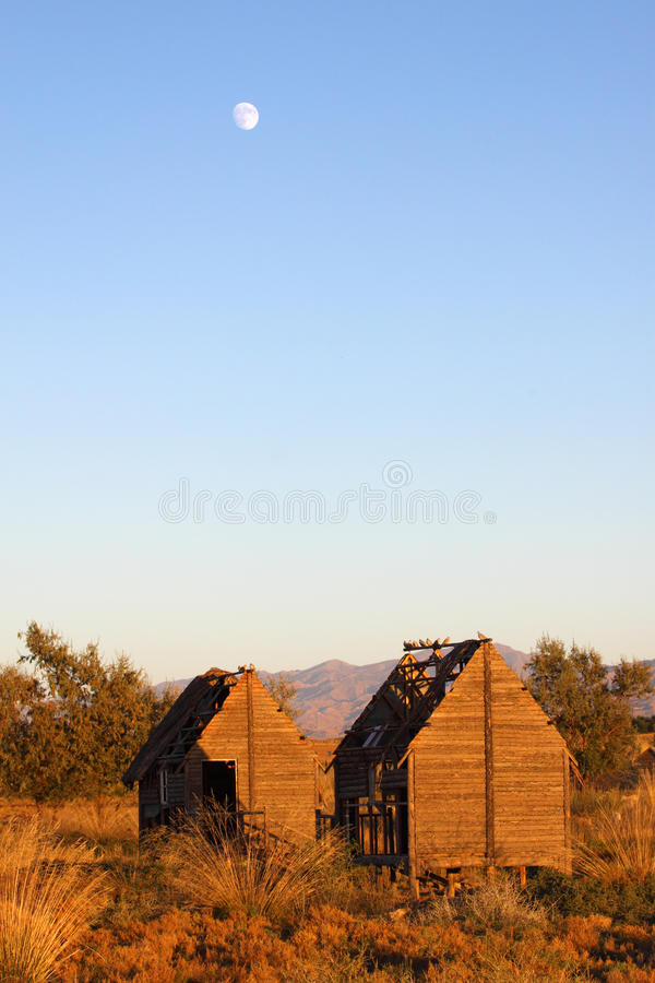 Obsolete houses in dusk royalty free stock photography