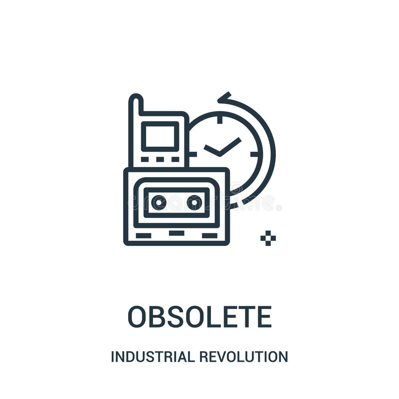 obsolete icon vector from industrial revolution collection. Thin line obsolete outline icon vector illustration royalty free illustration