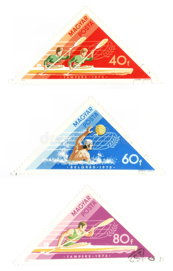 Obsolete post stamps with water sports. Collectible stamps from Hungary. Set with water sports - waterpolo and kayaking stock photography