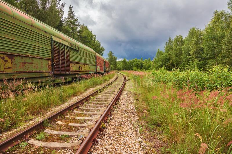 Old And Abandoned Railroad Tracks In A Northern European