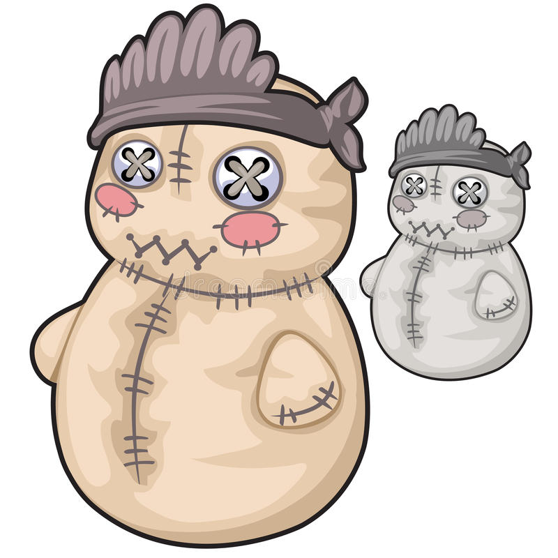 Obsolete soft toy snowman with rough stitches vector illustration