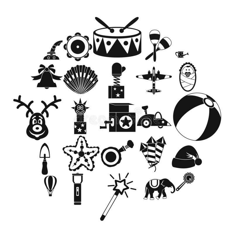 Obsolete toy icons set, simple style. Obsolete toy icons set. Simple set of 25 obsolete toy vector icons for web isolated on white background vector illustration
