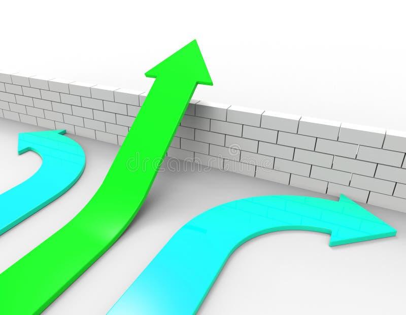 Obstáculo e setas do salto dos meios da seta do sucesso ilustração royalty free