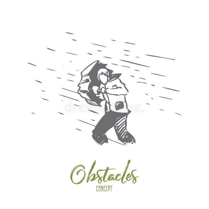 Obstáculos, dificuldades, conceito dos problemas Vetor isolado tirado mão ilustração do vetor