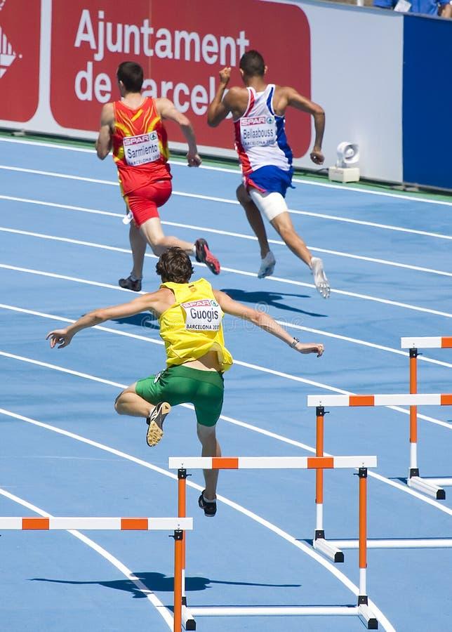 Obstáculos do atletismo fotografia de stock