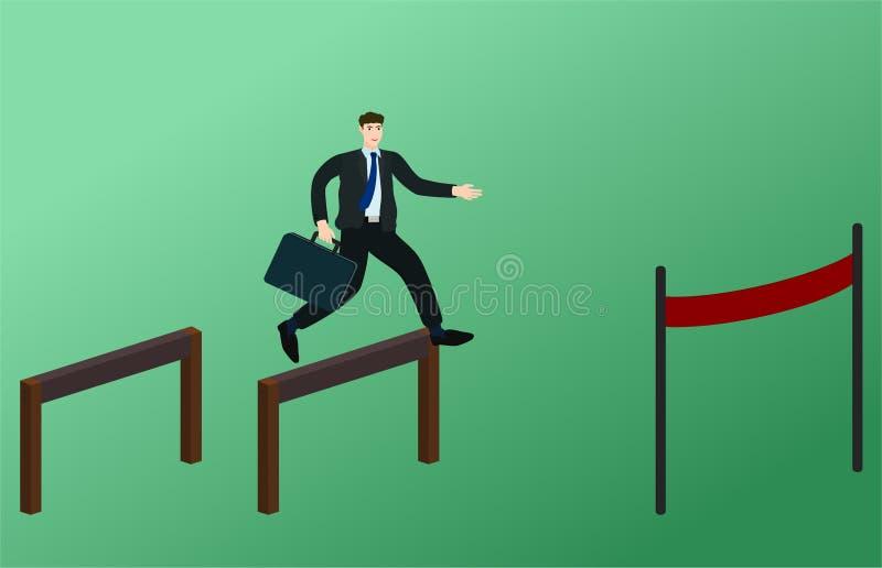 Obstáculos do corredor e do salto do homem de negócios ao meta ilustração stock