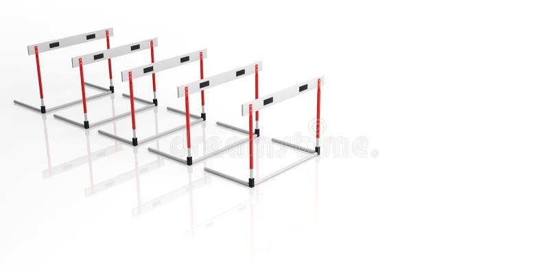 Obstáculos isolados no fundo branco, espaço da cópia, ilustração 3d ilustração do vetor