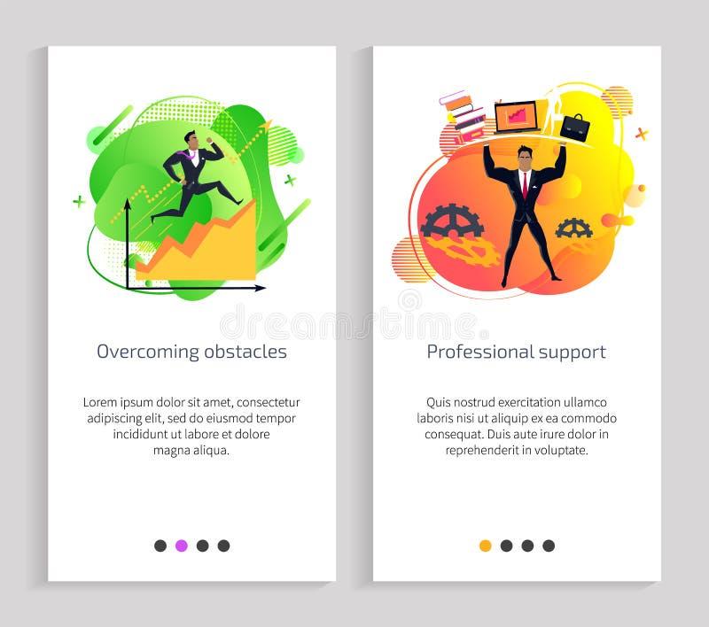 Obstáculos profissionais do apoio e superar ilustração stock