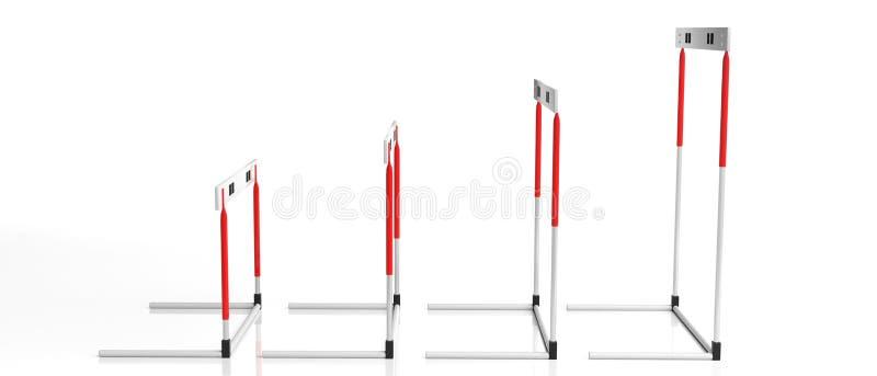 Obstáculos, variados tamanhos, isolados no fundo branco, vista lateral, bandeira, ilustração 3d ilustração royalty free