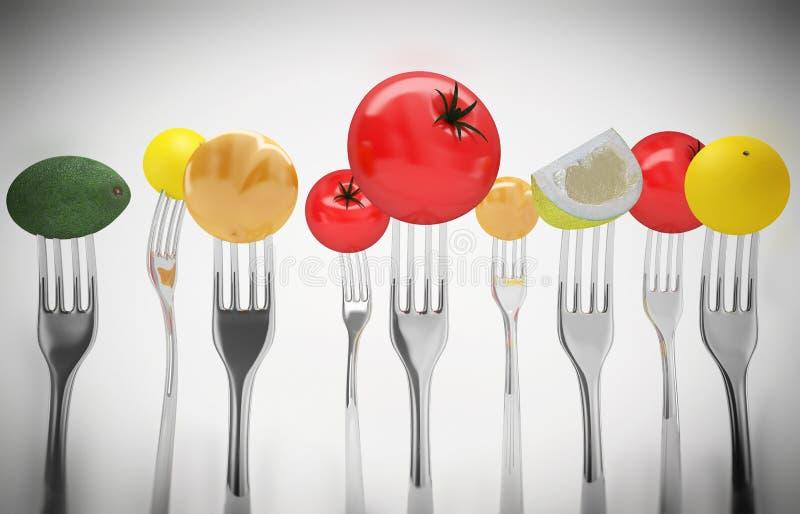 Obst und Gemüse auf den Gabeln Gesunde Nahrung vektor abbildung