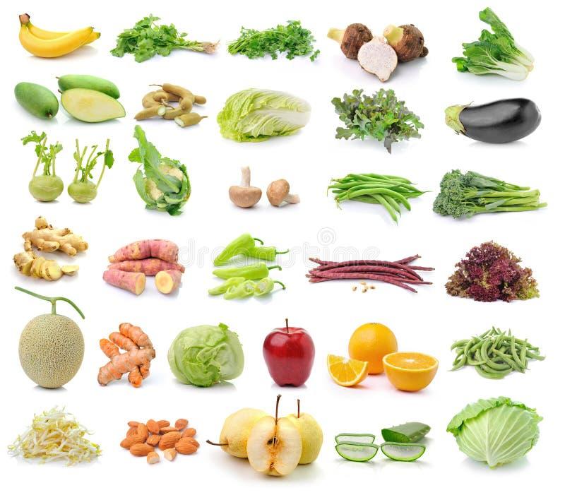 Obst und Gemüse auf weißem Hintergrund lizenzfreie stockfotografie